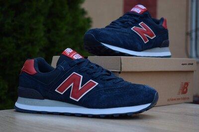 Кроссовки мужские New Balance 574, синий с красным замш