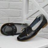 Туфли натуральная кожа Comfort Турция женские на маленьком каблуке черные кожаные туфли
