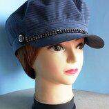 Кепи картуз шляпа кепка капитанка фуражка. Демисезонная. Серая полоска.