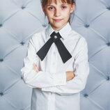 Школьная блузка для девочки с галстуком vsl-01596 белая рубашка с длинным рукавом для девочки