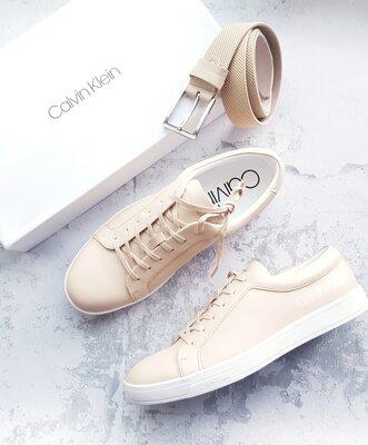 Бежевые кожаные кеды бренд Calvin Klein р. 43