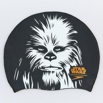 Шапочка для плавания Slogan Print Star Wars Chewbacca 85C743 силикон, черный