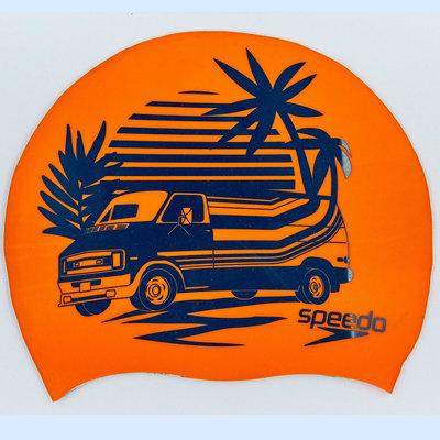Шапочка для плавания Speedo Slogan Print 85C859 силикон, оранжевый