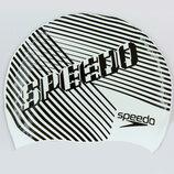 Шапочка для плавания детская Speedo Junior Slogan Print 863899 силикон, белый