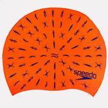 Шапочка для плавания детская Speedo Junior Slogan Print 86B966 силикон, оранжевый