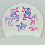 Шапочка для плавания детская Speedo Junior Slogan Print 86B967 силикон, белый