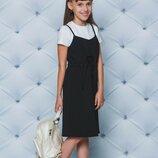 Комплект школьный сарафан футболка vsl-02284 костюм для девочки школьная форма