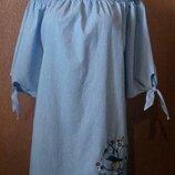 Короткое платье с открытыми плечами в полоску с вышивкой размер 12 george