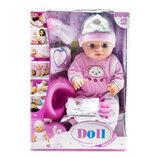 Функциональный пупс с аксессуарами Doll в розовом костюмчике с мишкой