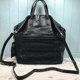 Женская кожаная сумка большая двусторонняя Polina & Eiterou черная жіноча шкіряна сумка чорна велика