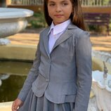 Пиджак школьный на девочку черный синий серый школьный костюм
