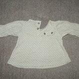 Белая трикотажная туника Marks&Spencer с длинным рукавом. На девочку до 3 мес. Рост 62 см.