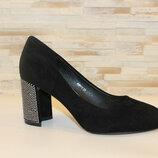 Туфли женские замшевые на каблуке код Т285