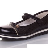 Черные детские туфли для девочек KLF 32-37