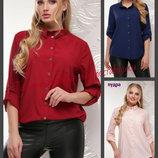 52-56, Женская рубашка, софт, Рубашка большого размера. Жіноча рубашка. Рубашка с длинным рукавом.