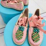 стильные туфли балетки босоножки с ананасами Италия Florens