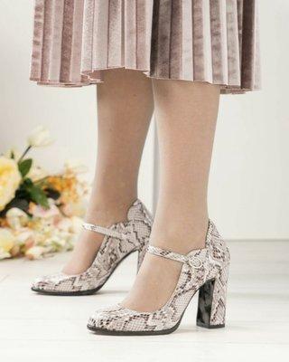 Код 5226 Эксклюзивные туфли с ремешком Верх натуральная итальянская кожа с принтом под рептилию