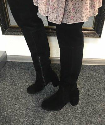 Шикарные замшевые чёрные высокие сапоги ботфорты на каблуке 36-40р