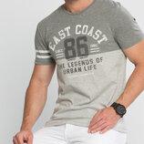 Мужская футболка серая LC Waikiki / Лс Вайкики с надписью East Coast 86