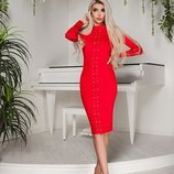 Платье с люверсами Красного цвета