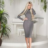 Платье с люверсами серого цвета