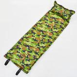 Коврик для кемпинга самонадувающийся с подушкой 0560 матрас самонадувающийся 180х50см, камуфляж