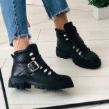 Ботинки, натуральная кожа, с лямкой и шнуровкой, черные, деми и зима