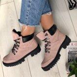 Ботинки зимние, натуральная замша, розовые, со шнуровкой