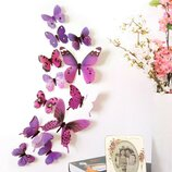 Объемные 3D бабочки для декора фиолетовые цветные на скотче 12 штук бабочек