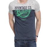 Мужская футболка серо-синяя LC Waikiki / Лс Вайкики с надписью New York Vintage Co.