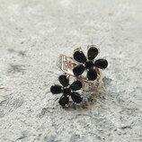 Серебряное кольцо, кольцо с цветами, кольцо с камнями