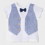 Оригинальная футболка с галстуком-бабочкой от бренда H&M разм. 56 1-2м