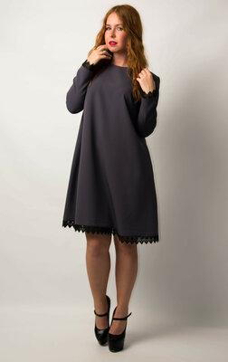 Платье свободного кроя с длинным рукавом от бренда Adele Leroy.