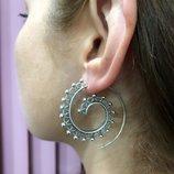 Жіночі срібні сережки кольца, женские серебряные серьги кольца