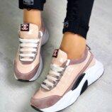 Кроссовки, натуральная замша, в стиле Chanel, пудра