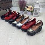 Туфли на платформе, с ремешком, натуральная кожа, 7 расцветок