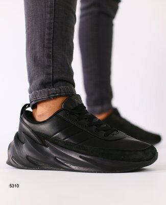 Мужские черные кожаные кроссовки с черными вставками