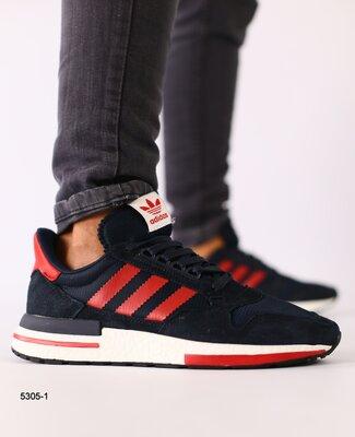 Мужские темно синие замшевые кроссовки с сеткой и красными кожаными вставками
