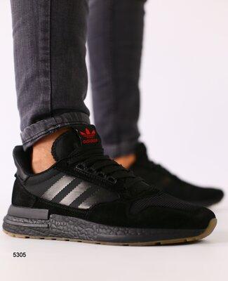 Мужские черные замшевые кроссовки с сеткой и черными кожаными вставками