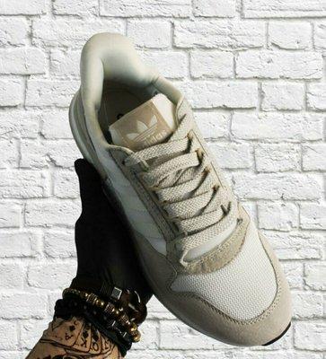 Мужские бежевые кожаные кроссовки Adidas ZX500 RM