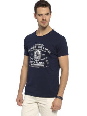 Мужская футболка синяя Lc Waikiki / Лс Вайкики с надписью Adventure with a spirit
