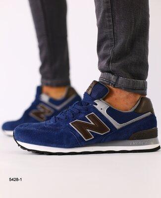 Мужские синие замшевые кроссовки с темно-коричневыми кожаными вставками