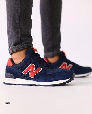 Мужские темно-синие замшевые кроссовки с красными кожаными вставками