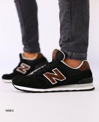 Мужские черные замшевые кроссовки с темно-коричневыми кожаными вставками