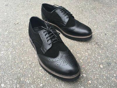 Мужские туфли Броги ONYX кожа замш черные