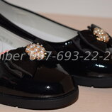 Туфли школьные на девочку черные Tom.m арт.5748-А р.32-37 туфлі чорні шкільні том м