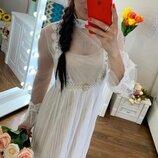 Красивое платье нежное - фатин и жемчужинки-- 3 цвета
