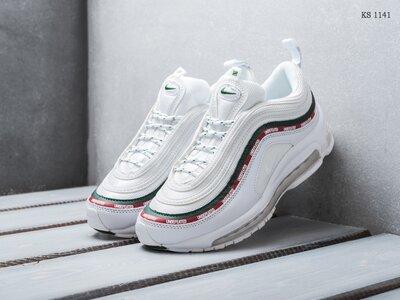 Как оригинал. Бесплатная доставка. Кожаные Nike Air Max 97 белые гучи KS 1141