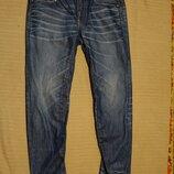 Темно-Голубые х/б джинсы с потертостями и выбеленностями G-Star A-Crotch Голландия 32/32.