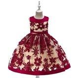 Детское нарядное платье на свадьбу, на праздник бордовый цвет Платье пышное с вышивкой